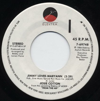 Jimmy Loves Maryann, Vinyl, Elektra Records, Josie Cotton